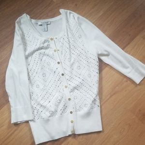 White button down sweater with rhinestones